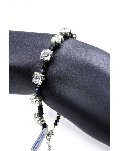 Black Swarovski Crystal on silver mount Bracelet