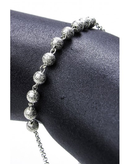 All Silver Beads  Rosary  Bracelet
