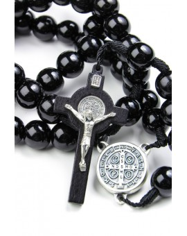 St Benedict wooden and rope black Rosary
