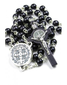 St Benedict black wooden Rosary necklace
