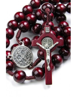 St Benedict wooden and rope dark red Rosary