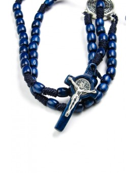 St Benedict wood and rope blue Rosary necklace
