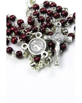St Benedict dark red wood and metal Rosary necklace