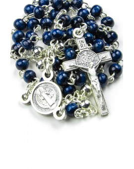 St Benedict blue wood and metal Rosary necklace