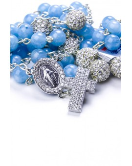 Angelite and Zircons Sterling Silver Rosary