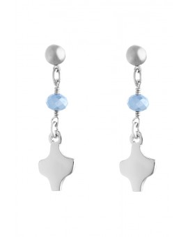 Silver White Crystal Earrings