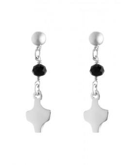 Silver White Crystal Earrings