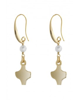 Gold White Crystal Earrings