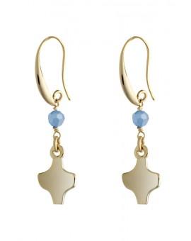 Gold White Crystal Earrings