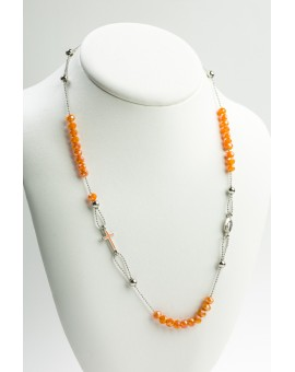 Crystal Necklace with Enamelled Crucifix and Miracolous Medal - Orange - Metal silver