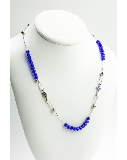 Crystal  Necklace with Enamelled Crucifix  and Miracolous Medal - Blue - Metal silver