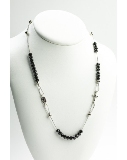 Crystal  Necklace with Enamelled Crucifix  and Miracolous Medal - Black - Metal silver