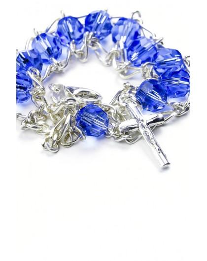 Double Chain Swarowski Blue Crystal Rosary Bracelet