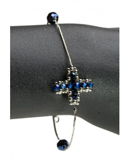 Swarowski dark blue Crystal Cross Bracelet