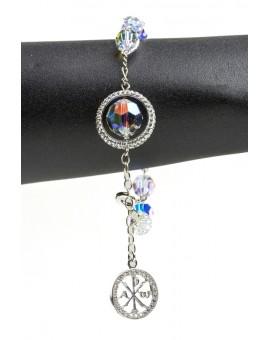 Swarowski Clear Crystal with Strass Ring Rosary Bracelet