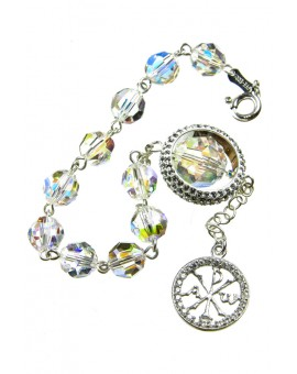 Swarowski Clear Crystal with Strass Ring Rosary Bracelet