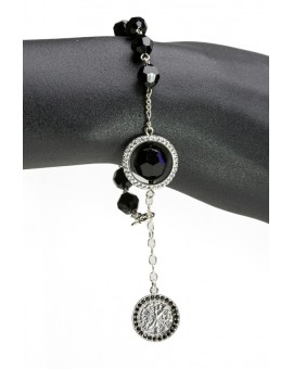 Swarowski Black Crystal with Strass Ring Rosary Bracelet
