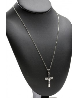 Sterling Silver Stripes Crucifix with chain