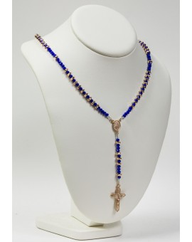 Blue Crystal and Silver Pink Gold Plated