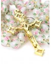 Pale white and rose Murano Glass Gold