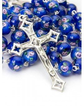 Deep Blue Murano Glass Rosary