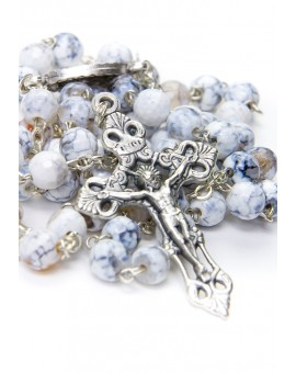 Faceted White Variegate Agate Rosary