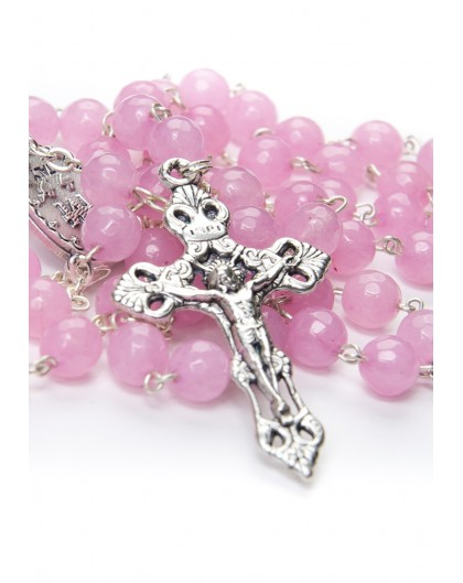 Faceted Rhodonite Pink Rosary