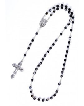 Faceted Variegate Black Agate Rosary