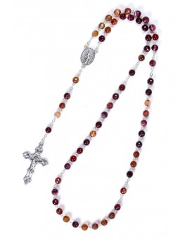 Cornelian Faceted Variegate Rosary 6mm beads