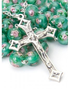 Green Murano glass Rosary