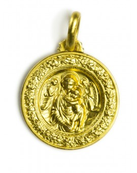 Della Robbia Virgin Mary Gold Plated Medal