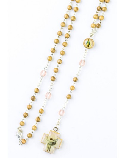 Wood and pink Glass Rosary