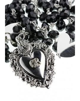Black Swarovski Ex Voto - Gratia received heart Rosary Necklace