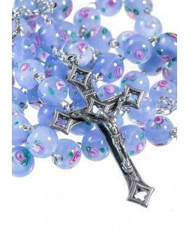 Sky Blue Murano Glass Rosary