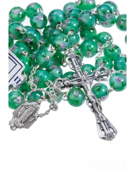 Green Murano Glass Rosary 6mm