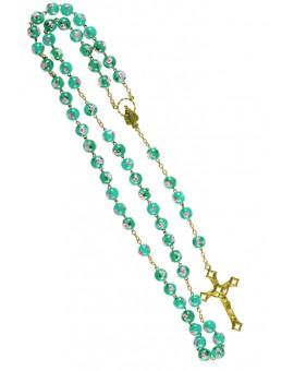 Green Murano Glass Rosary shine Gold Plated