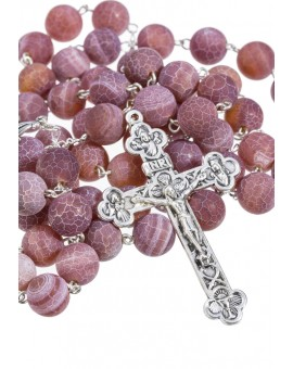 Satin Translucent Variegate Agate Rosary - Giade 10