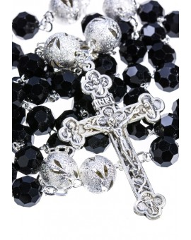 Crystal and Glitter silver Rosary - Black