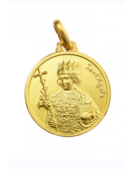Saint Agate Gold Plated Medal