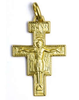 St. Damiano Crucifix gold plated small