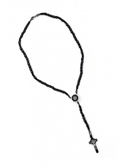 St Benedict Wood And Rope Black Rosary Necklace