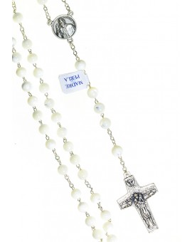 Pope Francis Mother of pearl Rosary with Papal Crucifix