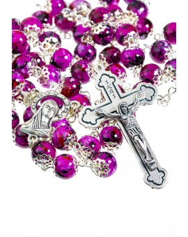 Glass fuchsia variegated beads Rosary