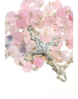 Pink Quartz Silver Rosary