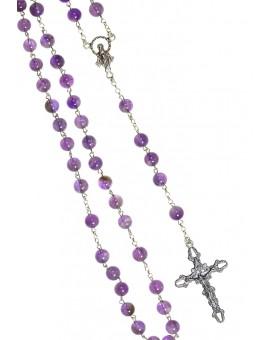 Violet amethyst Silver Rosary