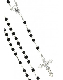 Black faceted Crystal Cube Silver Rosary