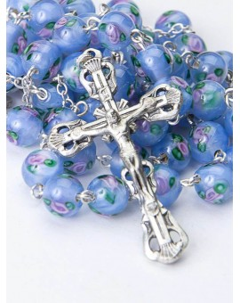 Murano glass Rosary Sky blue 6mm