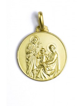 The Holy Family gold plated medal