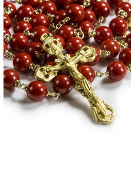 Red Coral Gold Plated Rosary