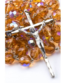 Orange crystal big Rosary